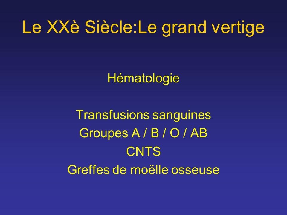 Le XXè Siècle:Le grand vertige Hématologie Transfusions sanguines Groupes A / B / O / AB CNTS Greffes de moëlle osseuse