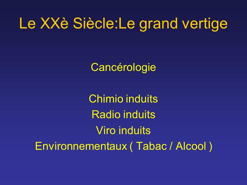 Le XXè Siècle:Le grand vertige Cancérologie Chimio induits Radio induits Viro induits Environnementaux ( Tabac / Alcool )