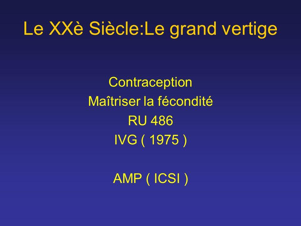 Le XXè Siècle:Le grand vertige Contraception Maîtriser la fécondité RU 486 IVG ( 1975 ) AMP ( ICSI )