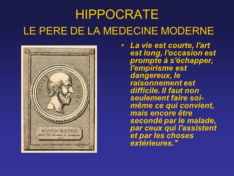 HIPPOCRATE LE PERE DE LA MEDECINE MODERNE La vie est courte, l'art est long, l'occasion est prompte à s'échapper, l'empirisme est dangereux, le raison