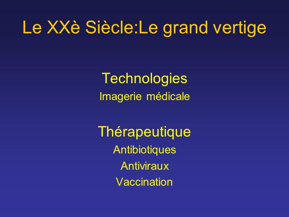 Le XXè Siècle:Le grand vertige Technologies Imagerie médicale Thérapeutique Antibiotiques Antiviraux Vaccination