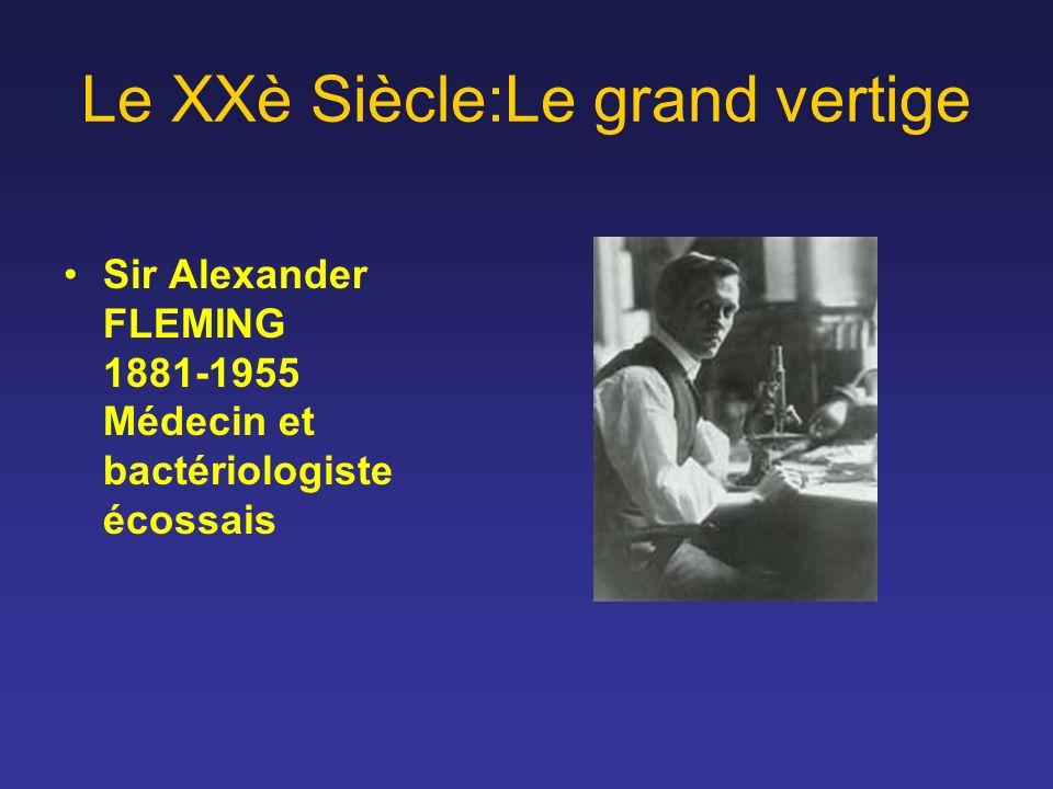 Le XXè Siècle:Le grand vertige Sir Alexander FLEMING 1881-1955 Médecin et bactériologiste écossais