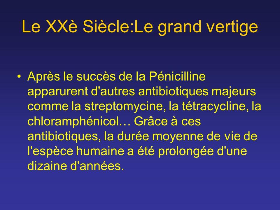 Le XXè Siècle:Le grand vertige Après le succès de la Pénicilline apparurent d'autres antibiotiques majeurs comme la streptomycine, la tétracycline, la