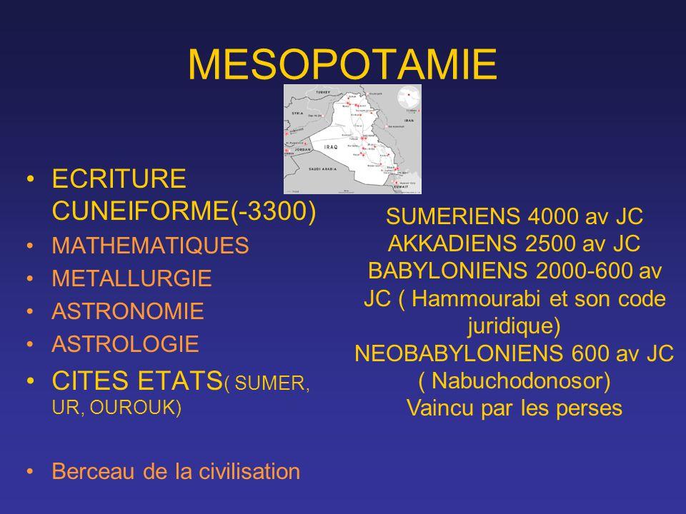 MESOPOTAMIE ECRITURE CUNEIFORME(-3300) MATHEMATIQUES METALLURGIE ASTRONOMIE ASTROLOGIE CITES ETATS ( SUMER, UR, OUROUK) Berceau de la civilisation SUM