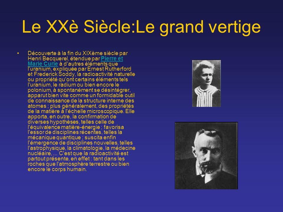 Le XXè Siècle:Le grand vertige Découverte à la fin du XIXème siècle par Henri Becquerel, étendue par Pierre et Marie Curie à d'autres éléments que l'u