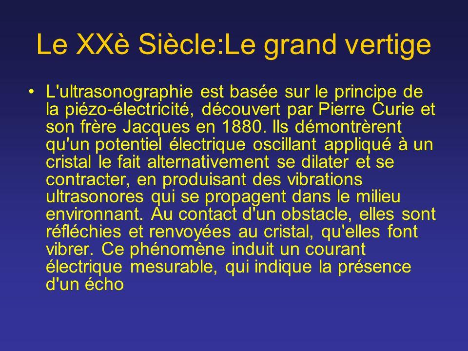 Le XXè Siècle:Le grand vertige L'ultrasonographie est basée sur le principe de la piézo-électricité, découvert par Pierre Curie et son frère Jacques e