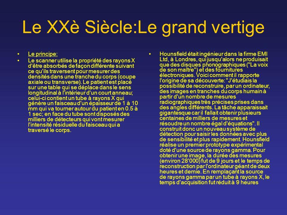 Le XXè Siècle:Le grand vertige Le principe: Le scanner utilise la propriété des rayons X d'être absorbés de façon différente suivant ce qu'ils travers