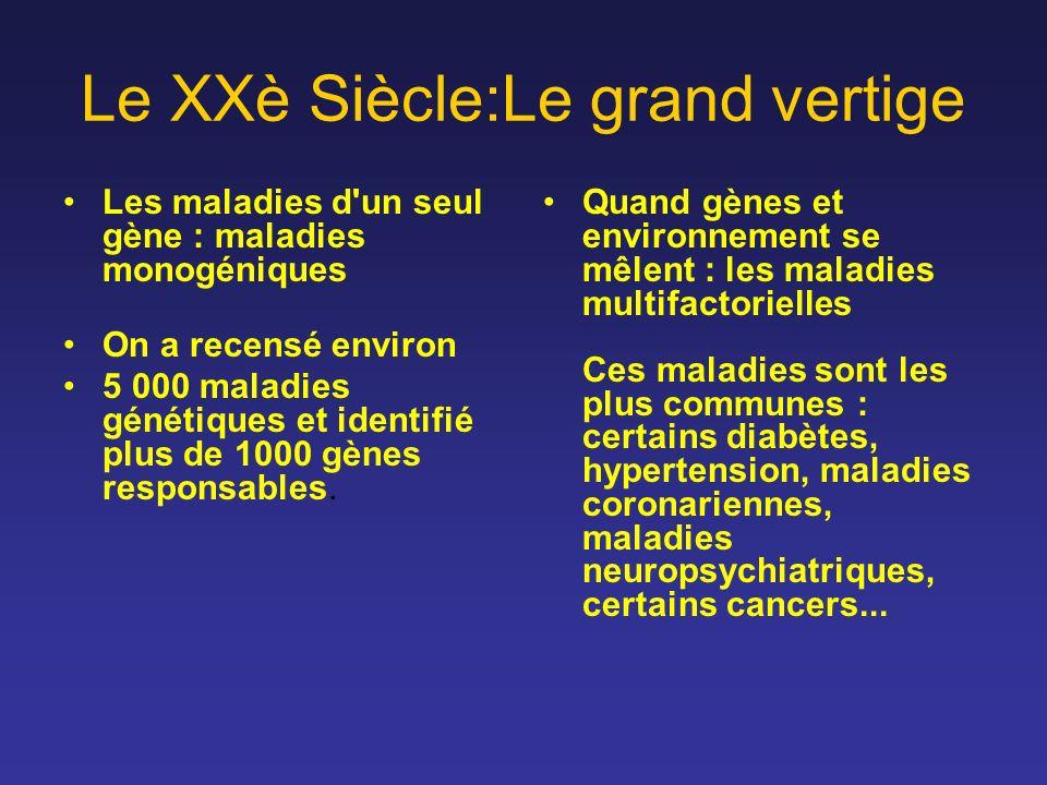Le XXè Siècle:Le grand vertige Les maladies d'un seul gène : maladies monogéniques On a recensé environ 5 000 maladies génétiques et identifié plus de