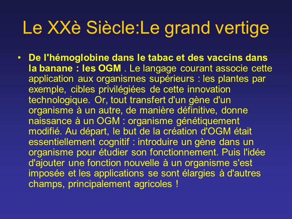 Le XXè Siècle:Le grand vertige De l'hémoglobine dans le tabac et des vaccins dans la banane : les OGM. Le langage courant associe cette application au