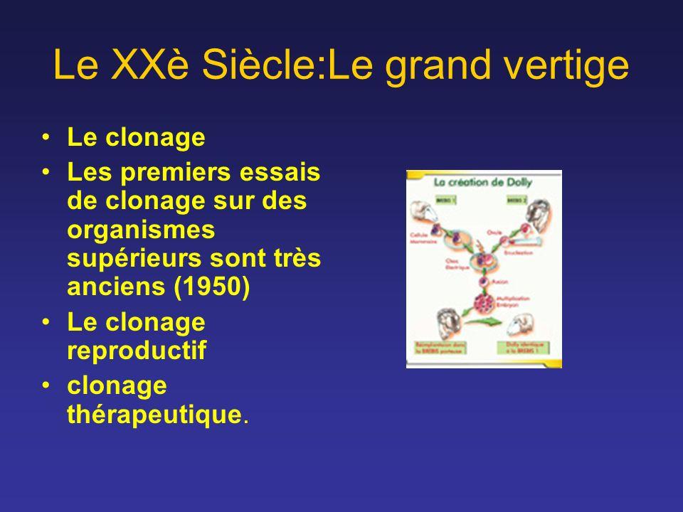 Le XXè Siècle:Le grand vertige Le clonage Les premiers essais de clonage sur des organismes supérieurs sont très anciens (1950) Le clonage reproductif