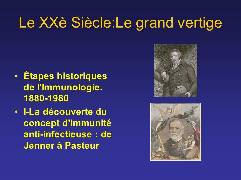 Le XXè Siècle:Le grand vertige Étapes historiques de l'Immunologie. 1880-1980 I-La découverte du concept d'immunité anti-infectieuse : de Jenner à Pas