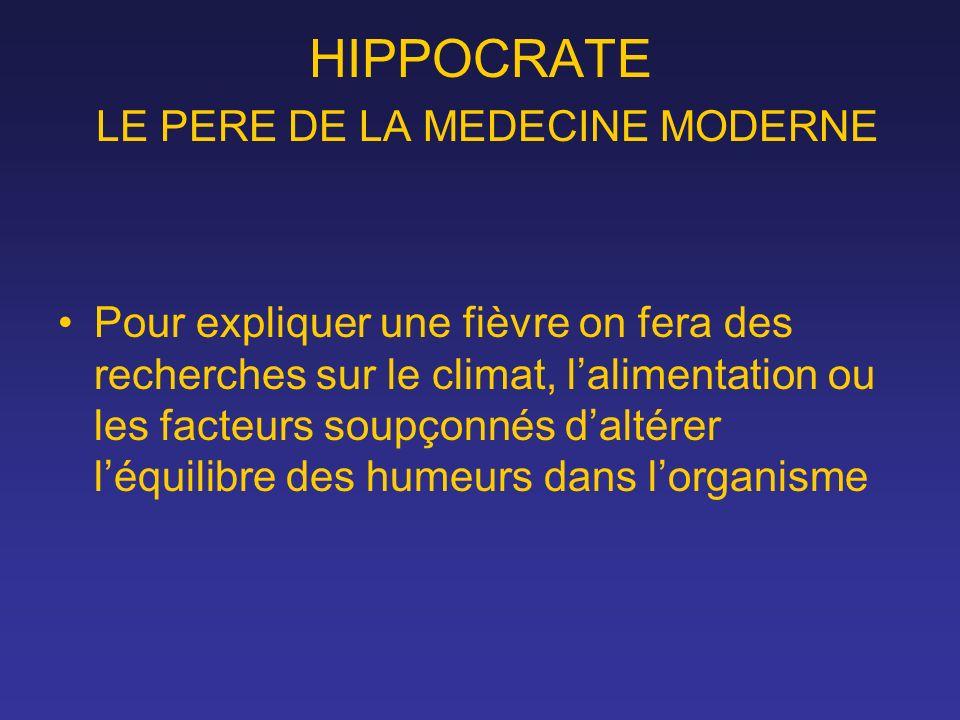 HIPPOCRATE LE PERE DE LA MEDECINE MODERNE Pour expliquer une fièvre on fera des recherches sur le climat, lalimentation ou les facteurs soupçonnés dal
