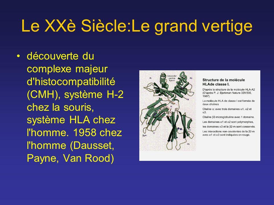 Le XXè Siècle:Le grand vertige découverte du complexe majeur d'histocompatibilité (CMH), système H-2 chez la souris, système HLA chez l'homme. 1958 ch