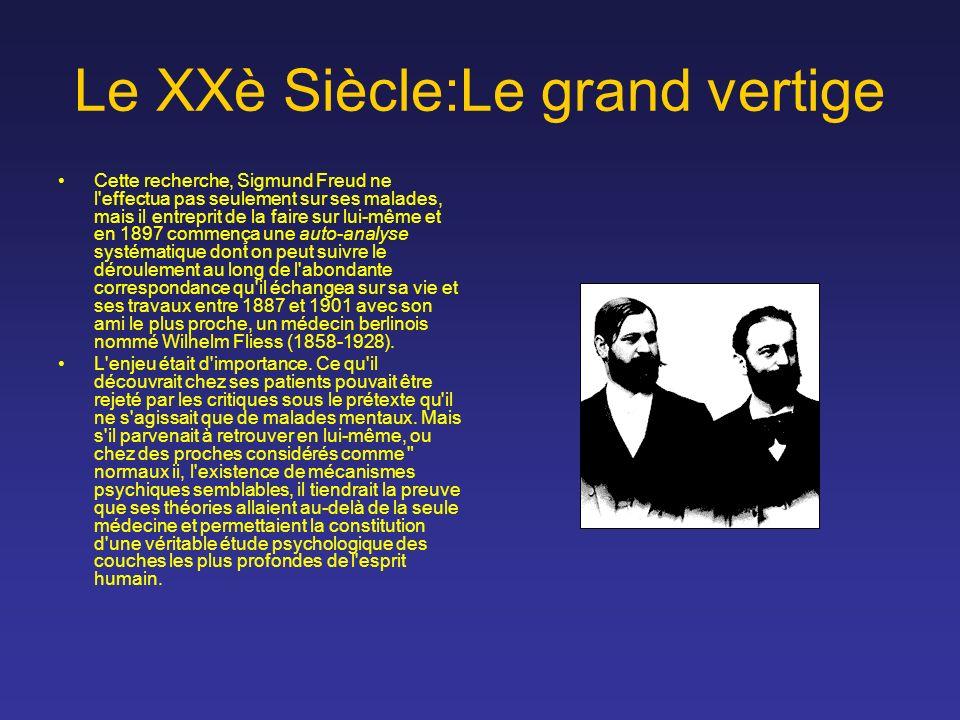 Le XXè Siècle:Le grand vertige Cette recherche, Sigmund Freud ne l'effectua pas seulement sur ses malades, mais il entreprit de la faire sur lui-même