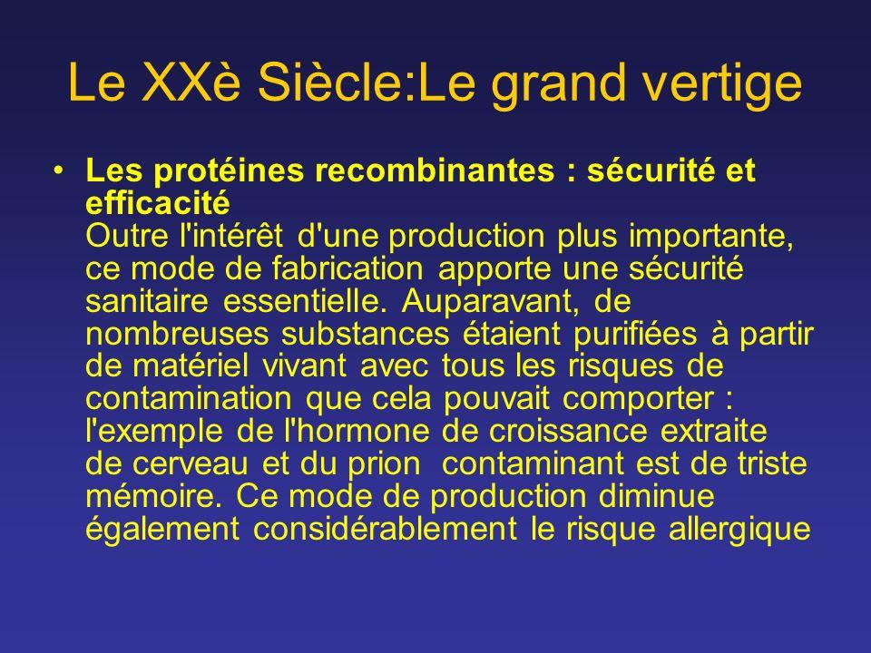 Le XXè Siècle:Le grand vertige Les protéines recombinantes : sécurité et efficacité Outre l'intérêt d'une production plus importante, ce mode de fabri