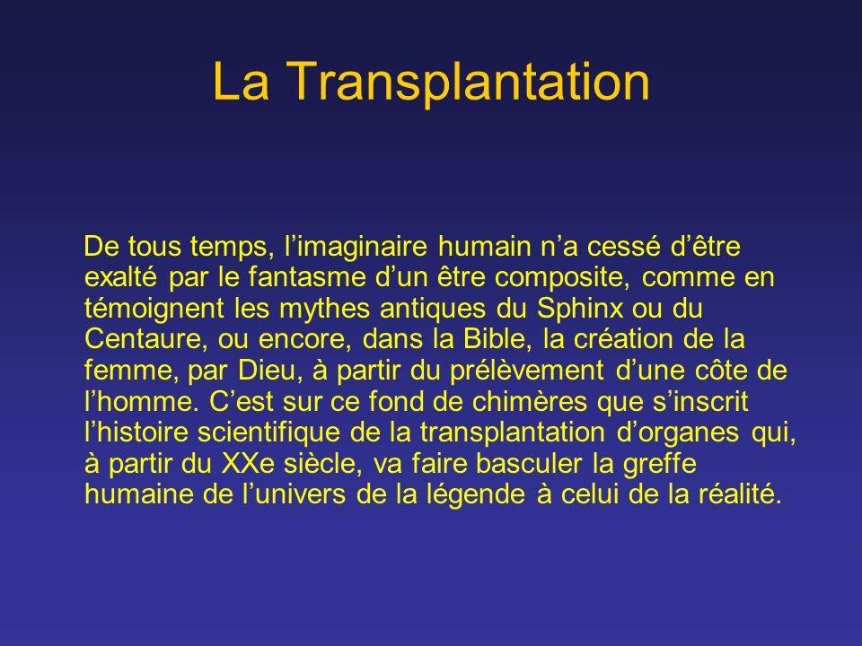 La Transplantation De tous temps, limaginaire humain na cessé dêtre exalté par le fantasme dun être composite, comme en témoignent les mythes antiques