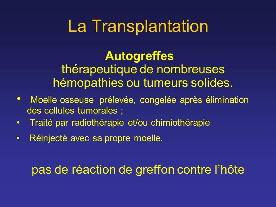 La Transplantation Autogreffes thérapeutique de nombreuses hémopathies ou tumeurs solides. Moelle osseuse prélevée, congelée après élimination des cel