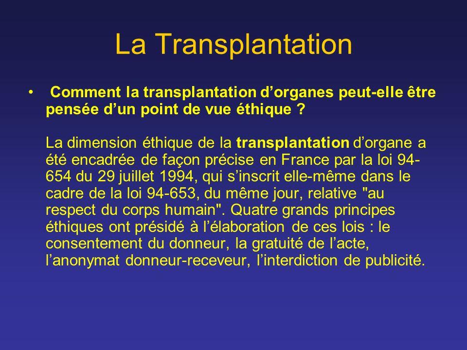 La Transplantation Comment la transplantation dorganes peut-elle être pensée dun point de vue éthique ? La dimension éthique de la transplantation dor