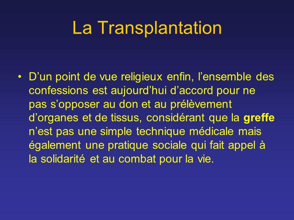 La Transplantation Dun point de vue religieux enfin, lensemble des confessions est aujourdhui daccord pour ne pas sopposer au don et au prélèvement do