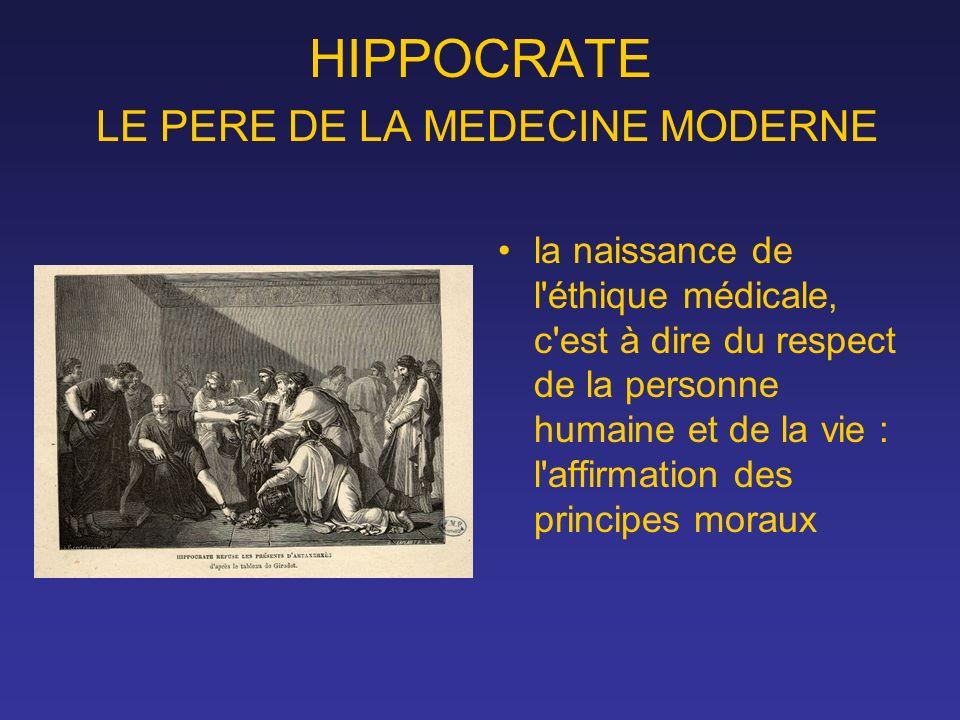 HIPPOCRATE LE PERE DE LA MEDECINE MODERNE la naissance de l'éthique médicale, c'est à dire du respect de la personne humaine et de la vie : l'affirmat