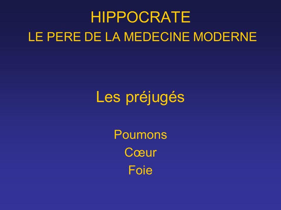 HIPPOCRATE LE PERE DE LA MEDECINE MODERNE Les préjugés Poumons Cœur Foie