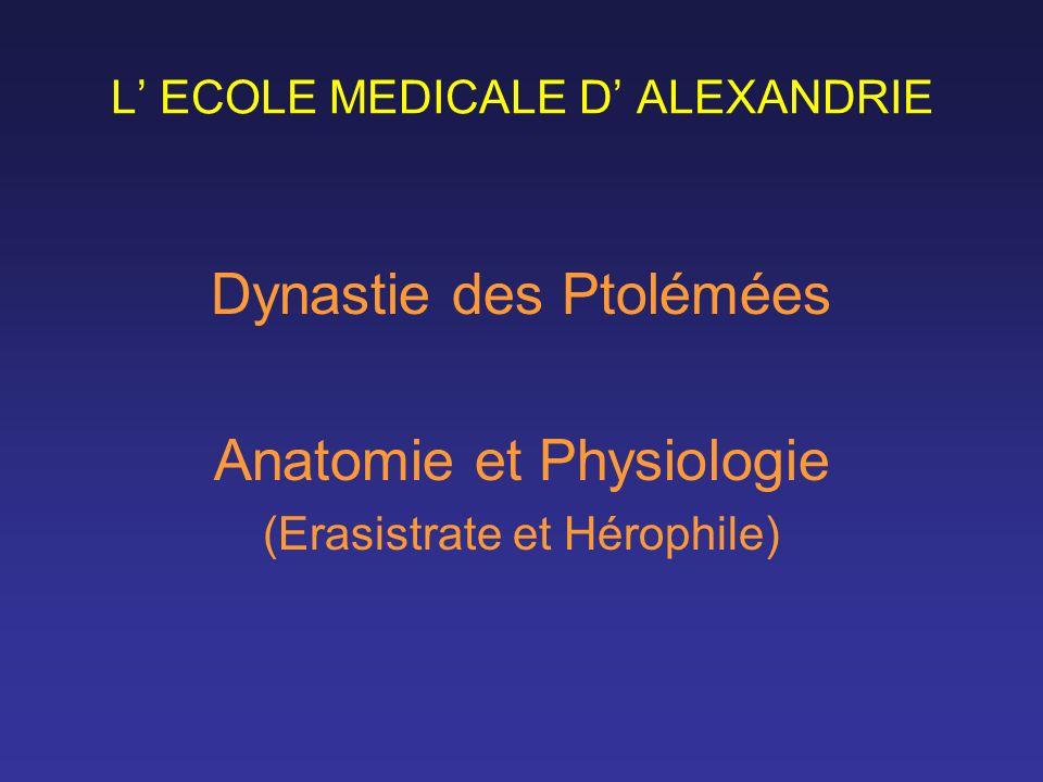 L ECOLE MEDICALE D ALEXANDRIE Dynastie des Ptolémées Anatomie et Physiologie (Erasistrate et Hérophile)