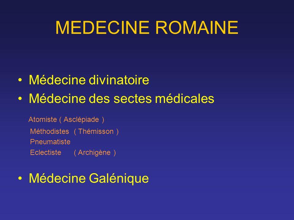 MEDECINE ROMAINE Médecine divinatoire Médecine des sectes médicales Atomiste ( Asclépiade ) Méthodistes ( Thémisson ) Pneumatiste Eclectiste ( Archigè