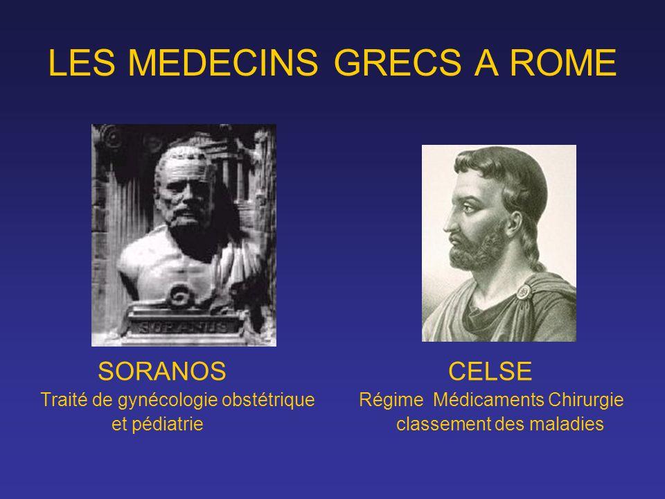 LES MEDECINS GRECS A ROME SORANOS CELSE Traité de gynécologie obstétrique Régime Médicaments Chirurgie et pédiatrie classement des maladies