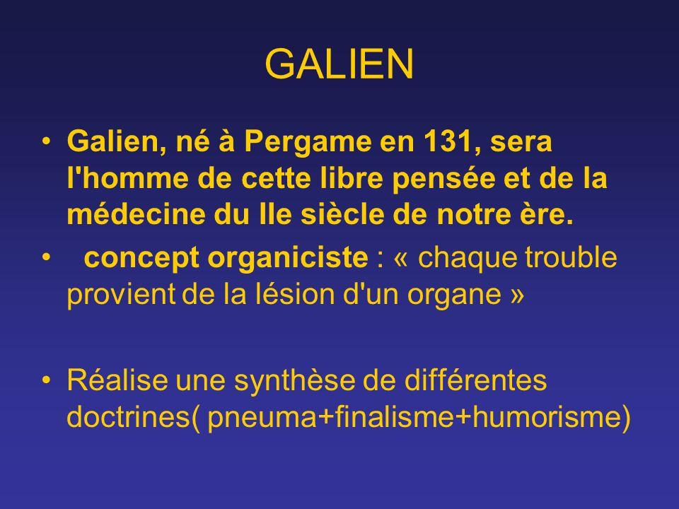 GALIEN Galien, né à Pergame en 131, sera l'homme de cette libre pensée et de la médecine du IIe siècle de notre ère. concept organiciste : « chaque tr