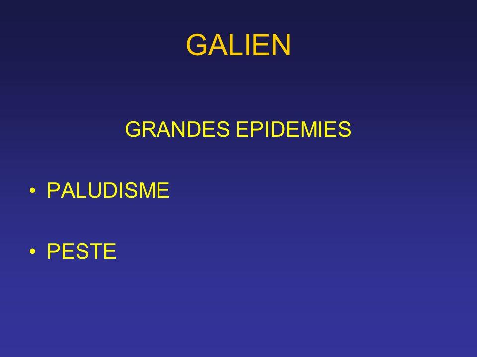 GALIEN GRANDES EPIDEMIES PALUDISME PESTE
