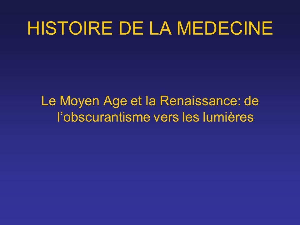 HISTOIRE DE LA MEDECINE Le Moyen Age et la Renaissance: de lobscurantisme vers les lumières