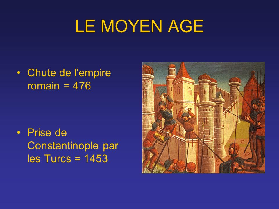 LE MOYEN AGE Chute de lempire romain = 476 Prise de Constantinople par les Turcs = 1453
