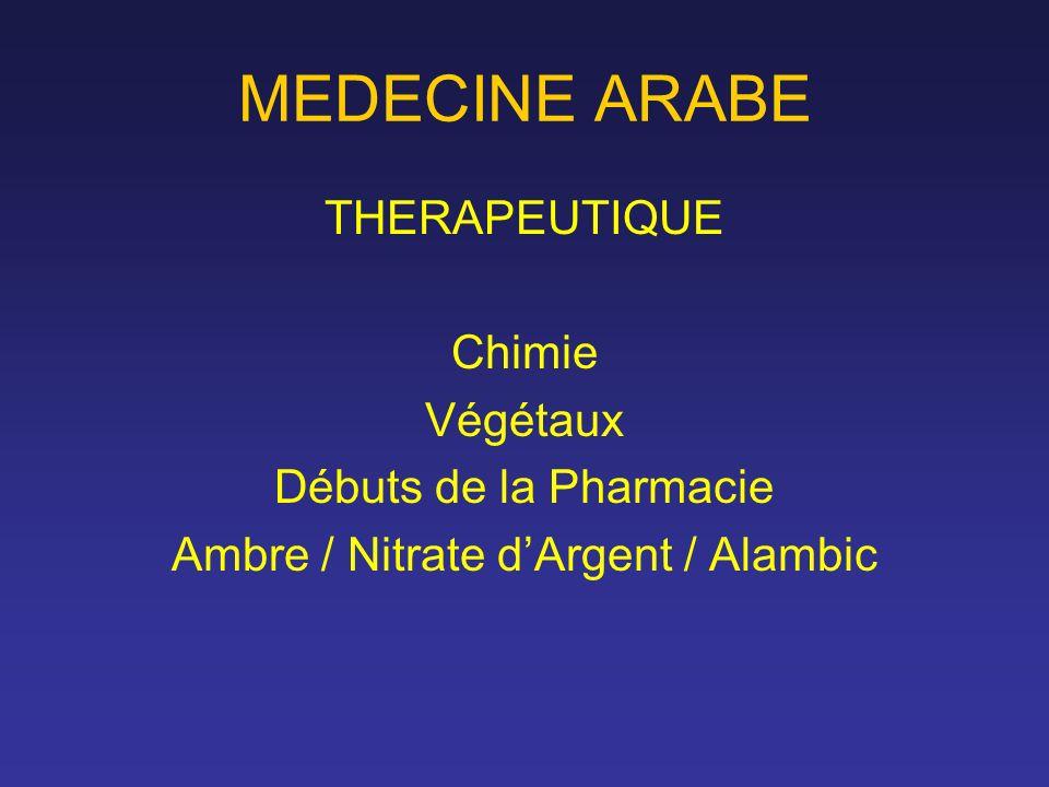 MEDECINE ARABE THERAPEUTIQUE Chimie Végétaux Débuts de la Pharmacie Ambre / Nitrate dArgent / Alambic