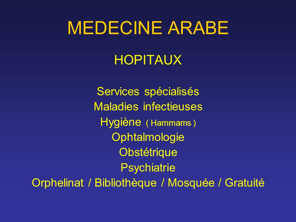 MEDECINE ARABE HOPITAUX Services spécialisés Maladies infectieuses Hygiène ( Hammams ) Ophtalmologie Obstétrique Psychiatrie Orphelinat / Bibliothèque