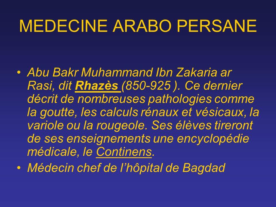 MEDECINE ARABO PERSANE Abu Bakr Muhammand Ibn Zakaria ar Rasi, dit Rhazès (850-925 ). Ce dernier décrit de nombreuses pathologies comme la goutte, les