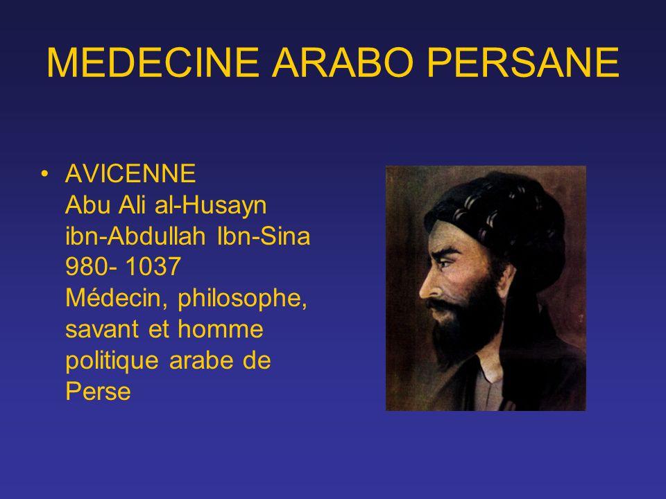 MEDECINE ARABO PERSANE AVICENNE Abu Ali al-Husayn ibn-Abdullah Ibn-Sina 980- 1037 Médecin, philosophe, savant et homme politique arabe de Perse