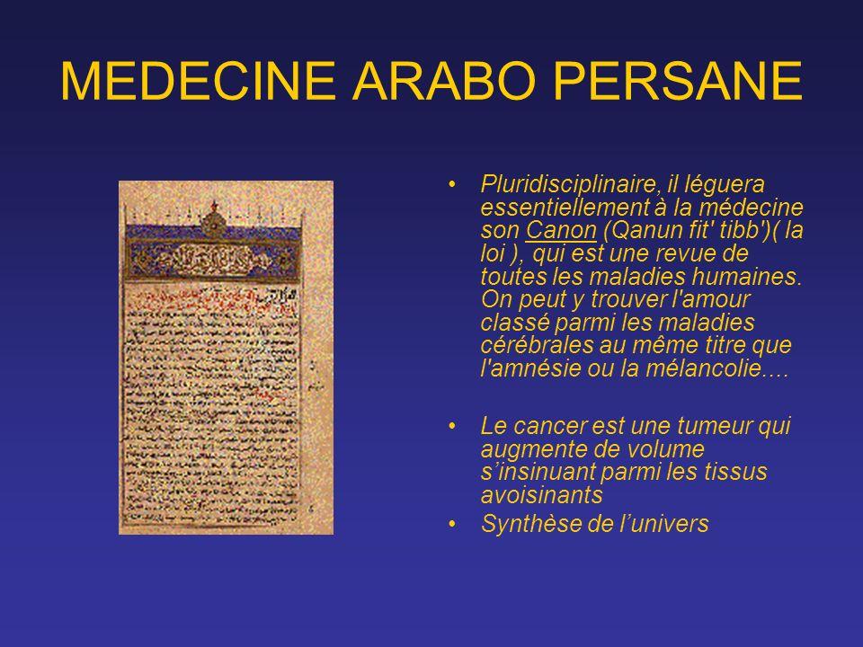MEDECINE ARABO PERSANE Pluridisciplinaire, il léguera essentiellement à la médecine son Canon (Qanun fit' tibb')( la loi ), qui est une revue de toute