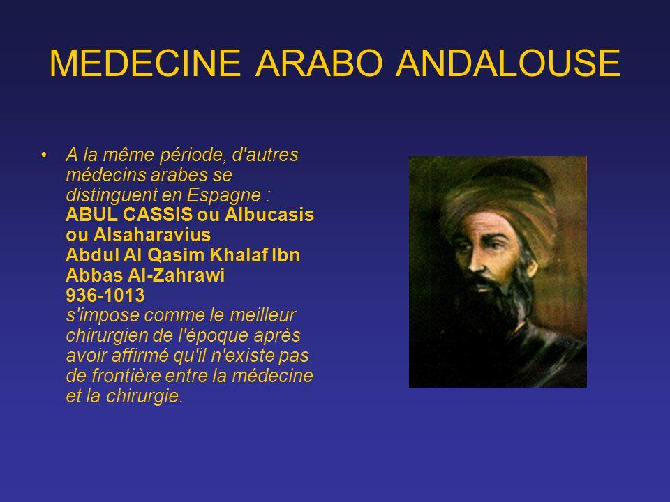 MEDECINE ARABO ANDALOUSE A la même période, d'autres médecins arabes se distinguent en Espagne : ABUL CASSIS ou Albucasis ou Alsaharavius Abdul Al Qas