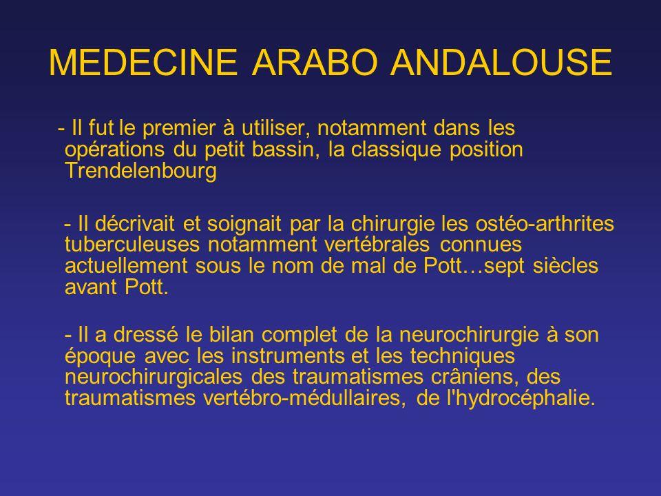MEDECINE ARABO ANDALOUSE - Il fut le premier à utiliser, notamment dans les opérations du petit bassin, la classique position Trendelenbourg - Il décr
