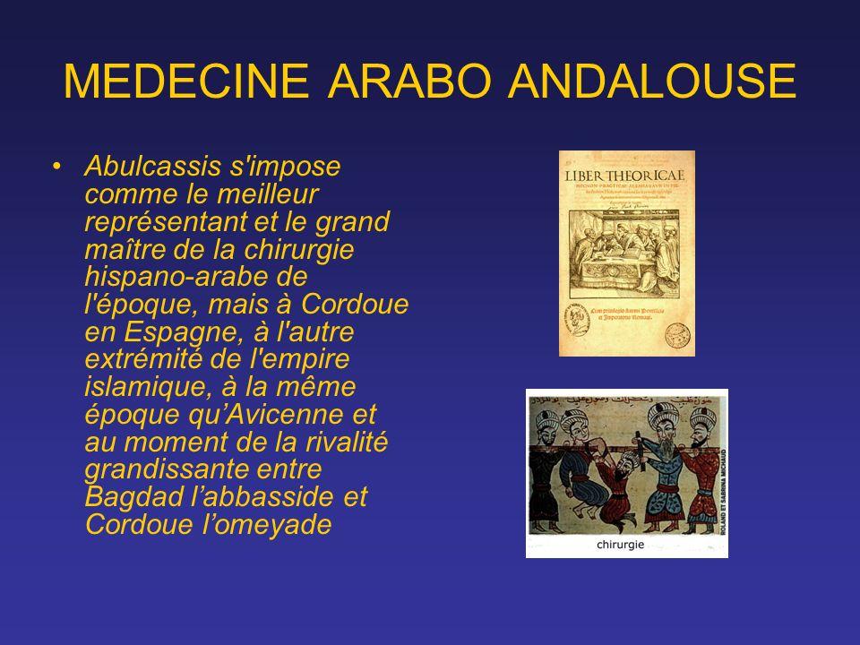 MEDECINE ARABO ANDALOUSE Abulcassis s'impose comme le meilleur représentant et le grand maître de la chirurgie hispano-arabe de l'époque, mais à Cordo