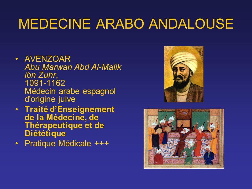 MEDECINE ARABO ANDALOUSE AVENZOAR Abu Marwan Abd Al-Malik ibn Zuhr, 1091-1162 Médecin arabe espagnol d'origine juive Traité dEnseignement de la Médeci