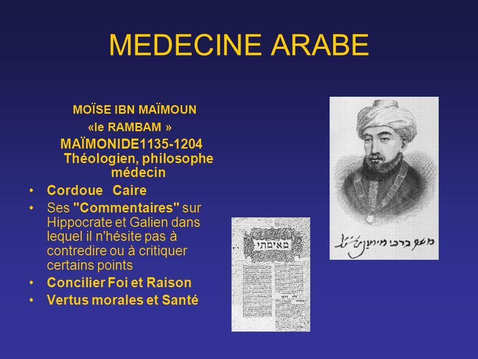 MEDECINE ARABE MOÏSE IBN MAÏMOUN «le RAMBAM » MAÏMONIDE1135-1204 Théologien, philosophe médecin Cordoue Caire Ses