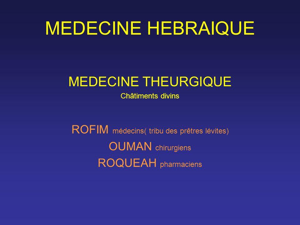 MEDECINE HEBRAIQUE MEDECINE THEURGIQUE Châtiments divins ROFIM médecins( tribu des prêtres lévites) OUMAN chirurgiens ROQUEAH pharmaciens