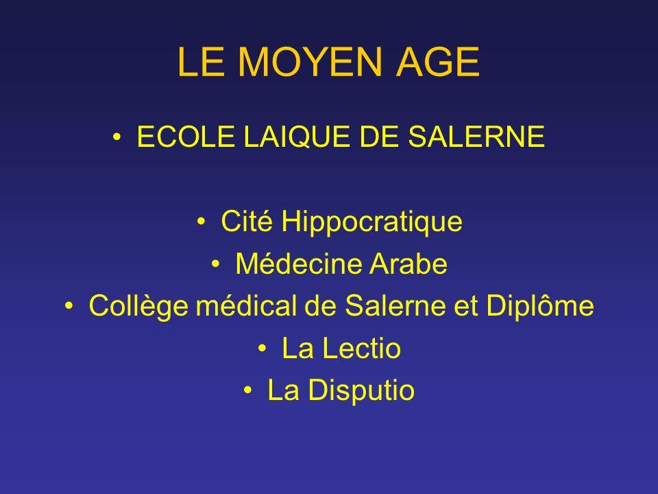 LE MOYEN AGE ECOLE LAIQUE DE SALERNE Cité Hippocratique Médecine Arabe Collège médical de Salerne et Diplôme La Lectio La Disputio