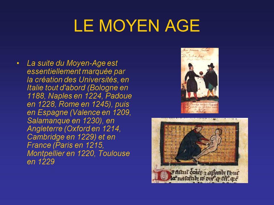 LE MOYEN AGE La suite du Moyen-Age est essentiellement marquée par la création des Universités, en Italie tout d'abord (Bologne en 1188, Naples en 122