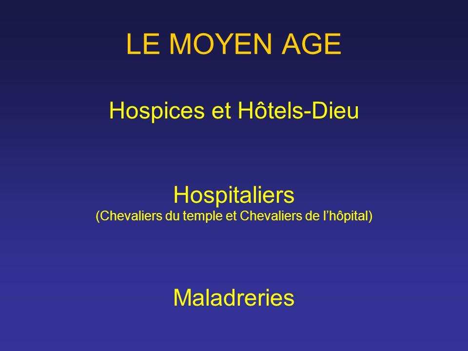LE MOYEN AGE Hospices et Hôtels-Dieu Hospitaliers (Chevaliers du temple et Chevaliers de lhôpital) Maladreries