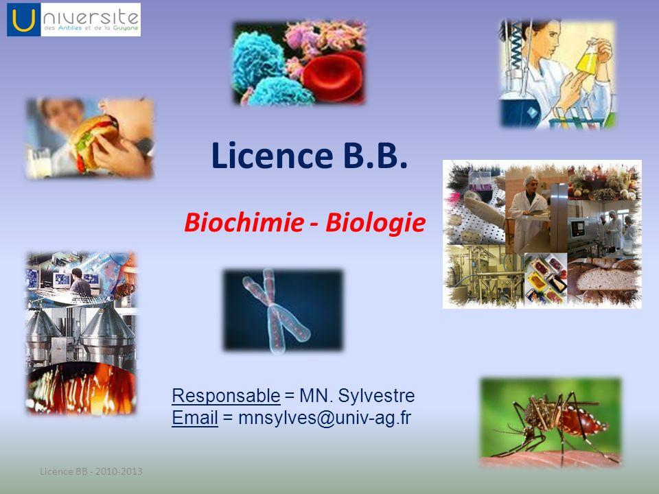 Semestre 3 : TC COMMUN – LICENCE BB CODENOMECECTSTOTAL HEURES CMTDTPCOEF BB- UEO 3.1 Outils scientifiques 3.1.1-Optique11587 1 3.1.2-Chimie organique - Statistiques 33912 - 812 - 7 BB- UEO 3.2 Biochimie 3.2.1-Biochimie structurale - Enzymologie 64624222 BB- UEP 3.3 Bioch/Physio /Anat 3.3.1-Physiologie animale538308 3 3.3.2-TP Biochimie, Physiologie, Anatomie 666 (34) (20) (12) 3.3.3-Anatomie Humaine428208 BB- UEC 3.4 Disciplines transversales 3.4.1-OIM3112 1 LVE LS3224 3.4.3-MET3 : Insertion professionnelle- Expression Scientifique 224