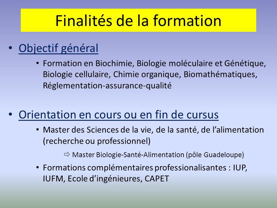 Objectif général Formation en Biochimie, Biologie moléculaire et Génétique, Biologie cellulaire, Chimie organique, Biomathématiques, Réglementation-as
