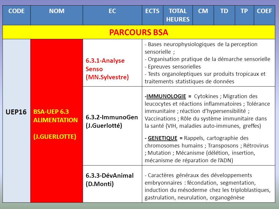 CODENOMECECTSTOTAL HEURES CMTDTPCOEF PARCOURS BSA UEP16 BSA-UEP 6.3 ALIMENTATION (J.GUERLOTTE) 6.3.1-Analyse Senso (MN.Sylvestre) - Bases neurophysiol