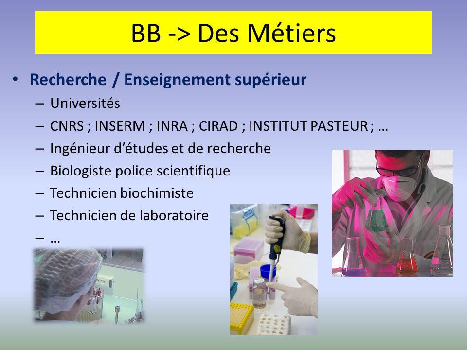 BB -> Des Métiers Recherche / Enseignement supérieur – Universités – CNRS ; INSERM ; INRA ; CIRAD ; INSTITUT PASTEUR ; … – Ingénieur détudes et de rec
